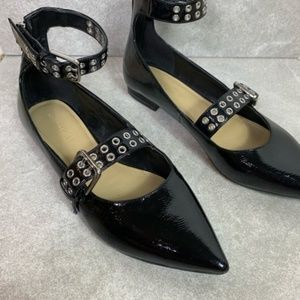 Marc Fisher Black Patent Leather Ankle Strap Flats